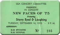 Ticket for the gig at New Paltz College, NY